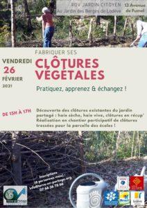 26 fév : Fabriquer ses clôtures végétales ! @ Jardin des Berges